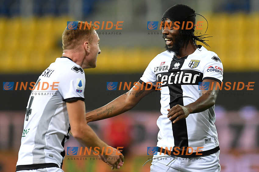 Gervinho of Parma celebrates with Dejan Kulusevski after scoring the goal of 1-0 during the Serie A football match between Parma and FC Internazionale at stadio Ennio Tardini in Parma ( Italy ), June 28th, 2020. Play resumes behind closed doors following the outbreak of the coronavirus disease. <br /> Photo Andrea Staccioli / Insidefoto