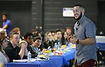 Motivational speaker Juan V. Lopez speaks to a group of high school seniors during College Day at Western Nevada College in Carson City, Nev., on Friday, March 10, 2017. <br />