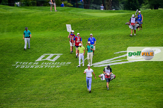Smylie Kaufman (USA), Justin Thomas (USA) and Rickie Fowler (USA) walk down the 17th fairway during round 2 of the 2016 Quicken Loans National, Congressional Country Club, Bethesda, Maryland, USA. 6/24/2016.<br /> Picture: Golffile | Ken Murray<br /> <br /> <br /> All photo usage must carry mandatory copyright credit (&copy; Golffile | Ken Murray)