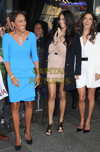 NEW YORK, NY - NOVEMBER 3: Robin Roberts, Adriana Lima and Alessandra Ambrosio visit ABC's Good Morning America in New York York City on November 3, 2014.  <br /> CAP/MPI/RW<br /> &copy;RW/ MediaPunch/Capital Pictures