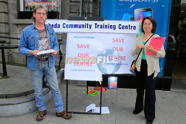David Creighton and Deirdre Harmon at The protest on west street for Drogheda community training centre<br /> Picture: www.newsfile.ie