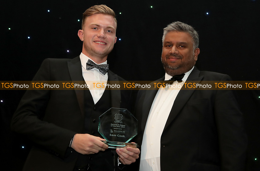 Sam Cook receives the second XI player of the year award during the Essex CCC 2017 Awards Evening at The Cloudfm County Ground on 5th October 2017