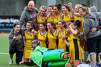 Hamilton Girls celebrate. Marie Fry Trophy Final, Hamilton Girls High v Westlake Girls, North Harbour Hockey Stadium, Albany, Auckland, New Zealand. Saturday 3 September 2016. Photo: Simon Watts / www.bwmedia.co.nz