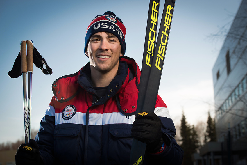 Renowned Nordic skier Reese Hanneman, who represented the U.S. at the 2018 Olympic Winter Games, photographed in front of UAA's Engineering and Industry Building. Hanneman will return to UAA's College of Engineering in the fall to finish his degree in mechanical engineering.