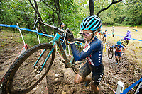 NWA Democrat-Gazette/BEN GOFF @NWABENGOFF<br /> Clara Honsinger of the United States climbs a stair obstacle while racing in the UCI Elite Women race Sunday, Oct. 6, 2019, during the the Fayettecross cyclocross races at Centennial Park at Millsap Mountain in Fayetteville. Honsinger won the race.