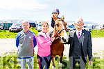 Lexi Keane from Tralee, on her horse Diamond at the Kingdom County Fair on Sunday<br /> L to r: Trisha Moran, Peter Enright and Cllr Sam Locke.