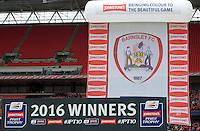 Barnsley, winners of the competition in the Johnstone's Paint Trophy Final match between Oxford United and Barnsley at Wembley Stadium, London, England on 3 April 2016. Photo by Alan  Stanford / PRiME Media Images.