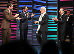 """Sean Martin Hingston, Peter Benson, Burt Bacharach, Hal David, Rob Ashford.taking a bow on the  Opening Night Broadway performance Curtain Call for """"PROMISES, PROMISES"""" at the Broadway Theatre, New York City..April 25, 2010."""