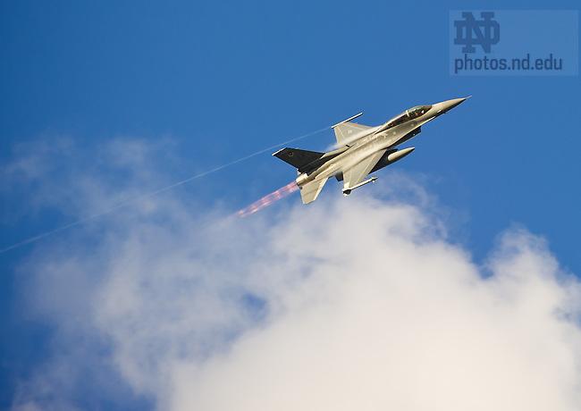 Sept. 22, 2012; A U.S. Air Force F-16 flies over the stadium...Photo by Matt Cashore/University of Notre Dame