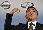 May 12, 2014, Yokohama, Japan - CEO Carlos Ghosn of Nissan Motor Co., gestures as he presents its quarterly earnings during a news conference at its head office in Yokohama, south of Tokyo, on Monday, May 12, 2014. Ghosn said its net profit rose 4.8% in the January-to-March quarter, thanks to the weak yen which offset sluggish sales in overseas markets. Ghosn forecast a net profit of \405 billion in the current business year with a global sales target of 5.65 million vehicles.  (Photo by Natsuki Sakai/AFLO)