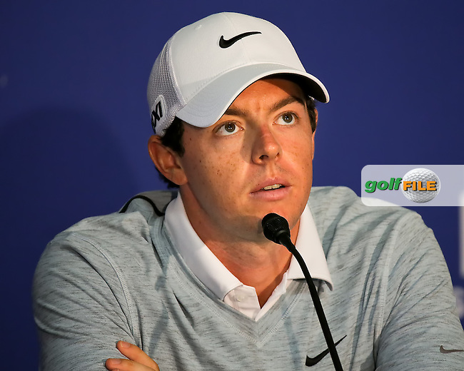 29 AUG 13 Rory MCIlroy meets the press after during Thursday's Pro Am at The Deutsche Bank Championship at The TPC of Boston in Norton, Massachusetts.  (photo:  kenneth e.dennis / kendennisphoto.com) www.golffile.ie