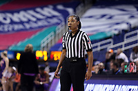 GREENSBORO, NC - MARCH 6: Official Fatou Cissoko-Stephens during a game between Clemson and Boston College at Greensboro Coliseum on March 6, 2020 in Greensboro, North Carolina.
