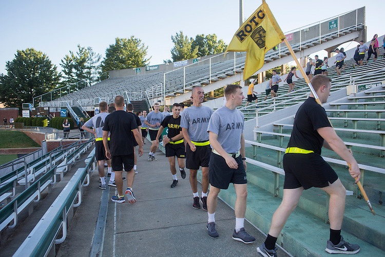 Cadets in Ohio University's ROTC program and Athens residents walk and run 2,071 steps at Peden stadium to symbolize the 2,071 steps in one of the World Trade Center's Towers during the 9/11 Stair Challenge Event on Sept. 11, 2016.
