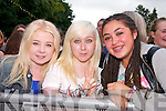 Jessica Hegarty (Wicklow), Casey Moore (Dublin) and Leanna Keogh (Dublin) watching the warm-up acts before Jedward on Friday.