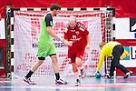 Eskilstuna 2014-05-15 Handboll SM-semifinal Eskilstuna Guif - Alings&aring;s HK :  <br /> Eskilstuna Guif Mathias Tholin  jublar efter att ha gjort ett m&aring;l p&aring; straff i den f&ouml;rsta halvleken<br /> (Foto: Kenta J&ouml;nsson) Nyckelord:  Eskilstuna Guif Sporthallen Alings&aring;s AHK SM Semifinal Semi jubel gl&auml;dje lycka glad happy