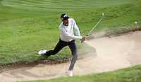 Alvaro Quiros plays out of a bunker on the 2nd - BMW Golf at Wentworth - Day 2 - 22/05/15 - MANDATORY CREDIT: Rob Newell/GPA/REX -