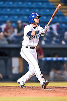 Asheville Tourists second baseman Forrest Wall (7) swings at a pitch during game one of the Southern Division South Atlantic League Playoffs against the Savannah Sand Gnats on September 9, 2015 in Asheville, North Carolina. The Tourists defeated the Sand Gnats 5-1. (Tony Farlow/Four Seam Images)