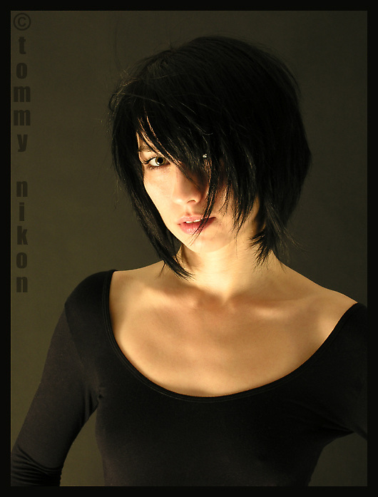 Portrait of Martine in black scoop neck