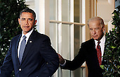 United States President Barack Obama and U.S. Vice President Joe Biden exit the Oval Office to deliver a statement to the press on the economy in the Rose Garden of the White House in Washington D.C., Wednesday, September 15 2010..Credit: Olivier Douliery / Pool via CNP