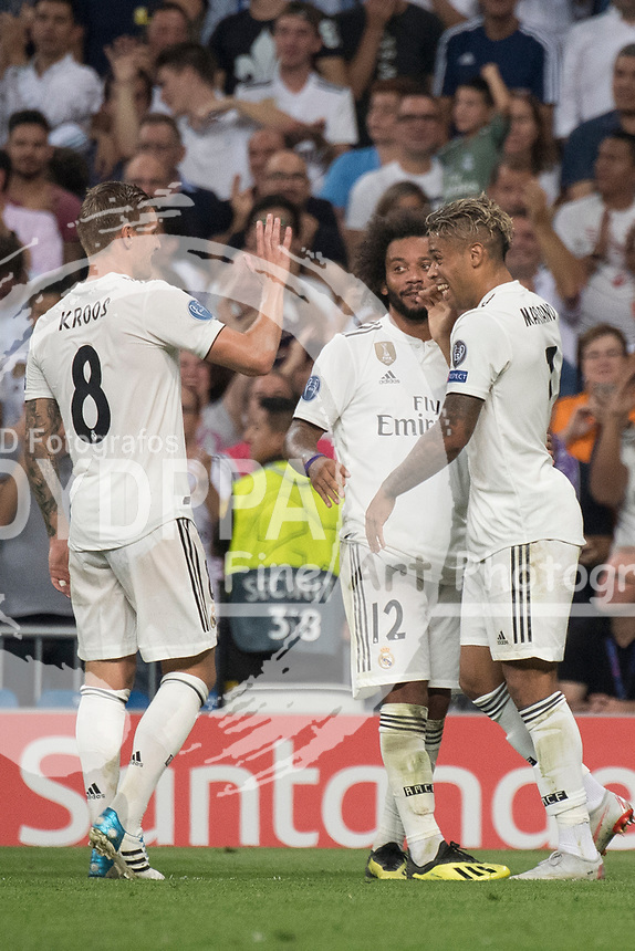 Uefa Champions League football match Real Madrid vs AS Roma at the Santiago Bernabeu stadium in Madrid on September 19, 2018.<br /> <br /> Mariano celebrates after scoring