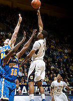 Tyrone Wallace of California shoots the ball during the game against UCLA at Haas Pavilion in Berkeley, California on February 14th, 2013.   California defeated UCLA, 77-63.