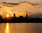 Apr. 1, 2013; Sunrise over St. Mary's Lake..Photo by Matt Cashore/University of Notre Dame