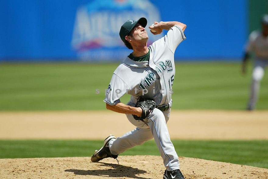 CASEY FOSSUM, of the Tampa Bay Devil Rays , in action during the  Devil Rays game against the Oakland A's  on April 28, 2007 in Oakland, California..A's win 12-5...Rob Holt/ SportPics..