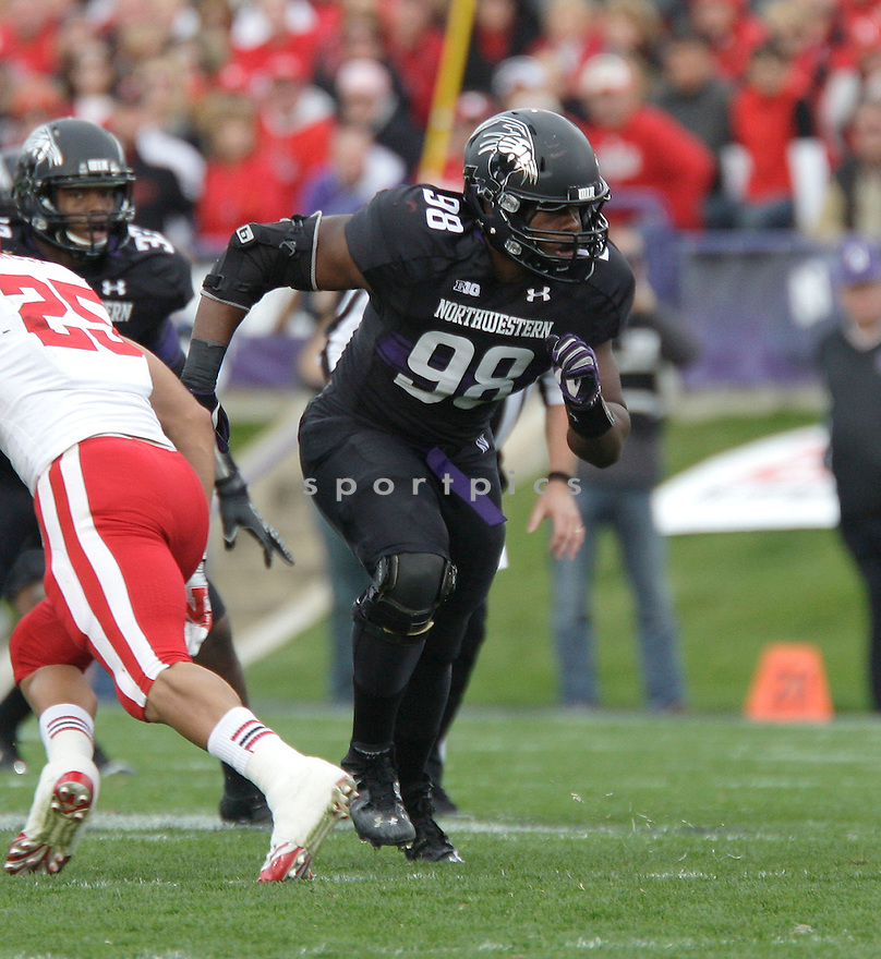Northwestern Wildcats Deonte Gibson (98) in action during a game against Nebraska on October 20, 2012 at Ryan Field in Evanston, IL. Nebraska beat Northwestern 29-28.
