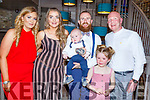 The christening of baby Bobby Powell from Shanakill on Saturday evening in the Fiddler Bar in the Square. <br /> L to r: Caitlin Sheehy (GM), Mary Ellen Donovan, Greg Powell, Paul Noughton (GF) and Hayley Powell.