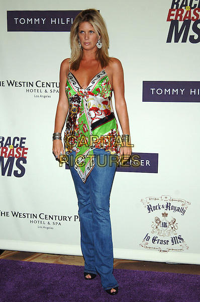 RACHEL HUNTER.12th Annual Race to Erase MS, Century Plaza Hotel, Century City, California, USA, .April 22nd 2005..full length jeans green patterned printed satin silk scarf camisole vest top silver bangles bracelets.Ref: ADM.www.capitalpictures.com.sales@capitalpictures.com.©J Wong/AdMedia/Capital Pictures.