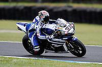 PHILLIP ISLAND, 27 FEBRUARY - Marco Melandri (ITA) riding the Yamaha YZF R1 (33) of the Yamaha World Superbike Team during race one of round one of the 2011 FIM Superbike World Championship at Phillip Island, Australia. (Photo Sydney Low / syd-low.com)