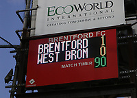 General view of the scoreboard at Griffin Park showing the final score after ninety minutes during Brentford vs West Bromwich Albion, Sky Bet EFL Championship Football at Griffin Park on 26th June 2020