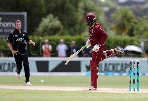 20th December, 2017, Whangarei, New Zealand;  West Indie's Chris Gayle reacts after being hit on the toe. New Zealand Black Caps versus West Indies, first One Day International cricket, Cobham Oval, Whangarei, New Zealand. Wednesday, 20 December, 2017.