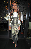 Alexandra Burke at the Q Decades summer series of live performances launch party, Quaglino's, Bury Street, London, England, UK, on Wednesday 04 July 2018.<br /> CAP/CAN<br /> &copy;CAN/Capital Pictures