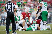 STANFORD, CA - SEPTEMBER 21: Thomas Schaffer #91 of the Stanford Cardinal reacts after sacking Justin Herbert #10 of the Oregon Ducks during a game between University of Oregon and Stanford Football at Stanford Stadium on September 21, 2019 in Stanford, California.