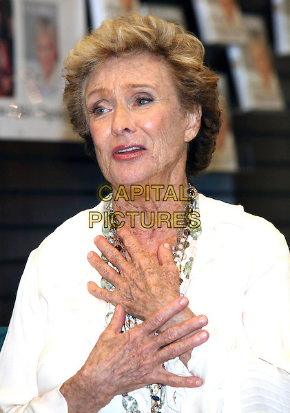 CLORIS LEACHMAN .bookstore appearance signing her autobiography 'Cloris' held at Barnes & Noble at The Grove, Los Angeles, CA, USA, 7th April 2009..half length white cream ruffle sleeved blouse shirt hands necklaces wrinkles .CAP/ADM/TC.©T. Conrad//Admedia/Capital Pictures