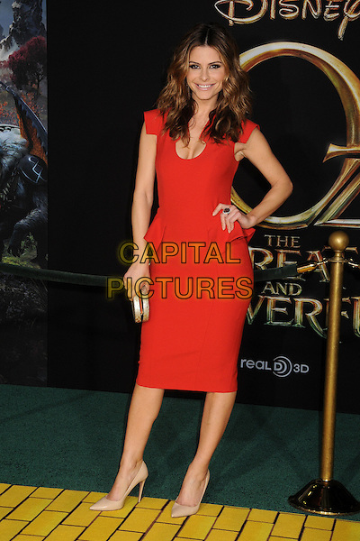 "Maria Menounos.""Oz the Great and Powerful"" Los Angeles Premiere held at the El Capitan Theatre, Hollywood, California, USA..February 13th, 2013 .full length dress hand on hip beige peplum shoes red cleavage silver clutch bag.CAP/ADM/BP.©Byron Purvis/AdMedia/Capital Pictures."