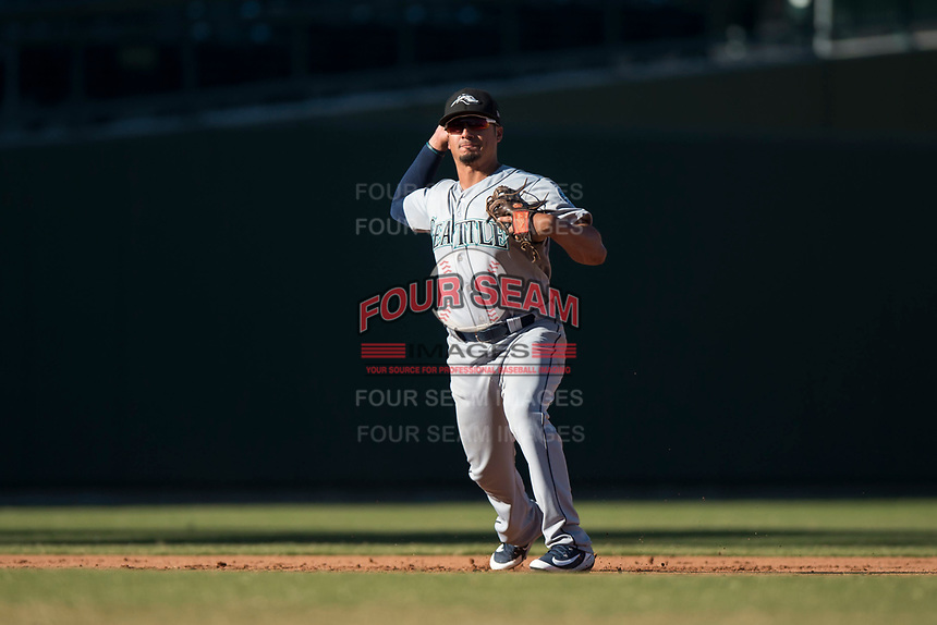 Peoria Javelinas third baseman Chris Mariscal (19), of the Seattle Mariners organization, throws to first base during an Arizona Fall League game against the Mesa Solar Sox at Sloan Park on November 6, 2018 in Mesa, Arizona. Mesa defeated Peoria 7-5 . (Zachary Lucy/Four Seam Images)