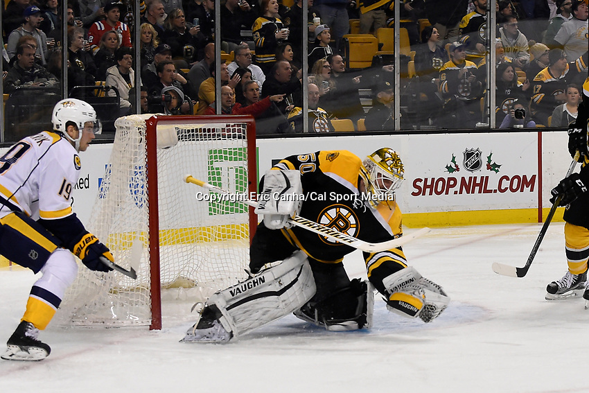 Monday, December 7, 2015: Boston Bruins goalie Jonas Gustavsson (50) gloves the puck during the National Hockey League game between the Nashville Predators and the Boston Bruins held at TD Garden, in Boston, Massachusetts. The Predators defeat the Bruins 3-2 in regulation time. Eric Canha/CSM