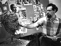 Robert Barks, sculpting Ernest Hemingway's head working from a picture taken by Ken Heyman.