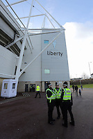 Police officers outside the stadium before the Barclays Premier League match between Swansea City and Bournemouth at the Liberty Stadium, Swansea on November 21 2015