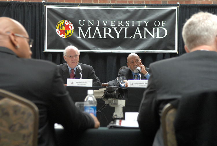 Sen. Ben Cardin, D-Md., left, and Rep. Alcee Hastings, D-Fla., conduct a field hearing at the University of Maryland on torture and other forms of banned treatment.