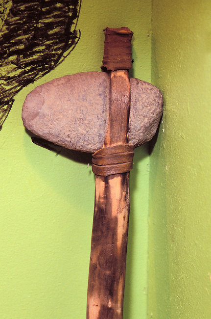 Moravian Lenape stone tomahawk ax which was also used as a hammer tied onto a wooden handle