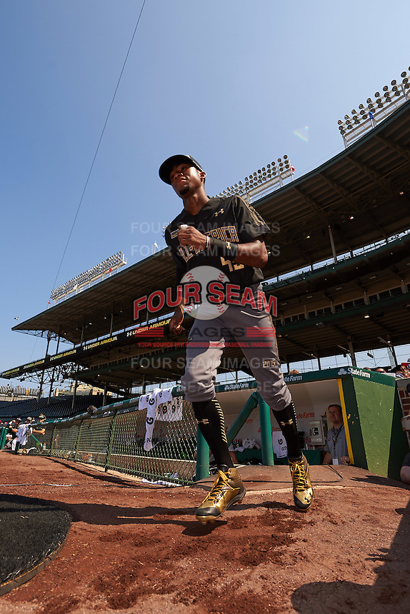 Jordon Adell (45) of Ballard High School in Louisville, Kentucky during introductions before the Under Armour All-American Game on August 15, 2015 at Wrigley Field in Chicago, Illinois. (Mike Janes/Four Seam Images)