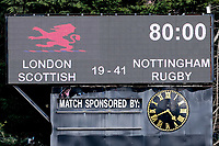 The scoreboard at the end of the game during the Greene King IPA Championship match between London Scottish Football Club and Nottingham Rugby at Richmond Athletic Ground, Richmond, United Kingdom on 15 April 2017. Photo by David Horn.