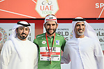 Fernando Gaviria (COL) UAE Team Emirates wins Stage 2 and takes over the points Green Jersey of the 2019 UAE Tour, running 184km form Yas Island Yas Mall to Abu Dhabi Breakwater Big Flag, Abu Dhabi, United Arab Emirates. 25th February 2019.<br /> Picture: LaPresse/Fabio Ferrari | Cyclefile<br /> <br /> <br /> All photos usage must carry mandatory copyright credit (© Cyclefile | LaPresse/Fabio Ferrari)