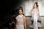 Models walk runway in outfits from Inbal Dror Fall 2018 bridal collection fashion show on October 5, 2017; during New York Bridal Fashion Week.