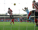 Sergio Aguero of Manchester City goal attempt<br /> - Barclays Premier League - Southampton vs Manchester City - St Mary's Stadium - Southampton - England - 30th November 2014 - Pic Robin Parker/Sportimage