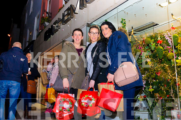 Laura Donergan, Marie Russell and Christina Dineen pictured here as they left the CH Chemists' Christmas Shopping Event last Friday. The girls grabbed some bargains at the event which drew a huge crowd.