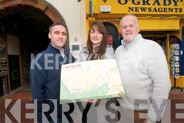 Heart-safe Killarney will distribute maps throughout Killarney to show everyone where the 12 life-saving defibrillators are located. .L-R Derek O'Leary (training co-ordinator), Siobhan Linehan (treasurer) and Eamon Mulvihill (Red Box Branding)